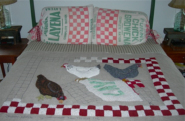 Some progress on the  Chicken Dreams  rug and the feed sack pillow shams that inspired it.
