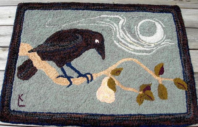 Crow and Pear , the first rug I designed and hooked while living in Maine.