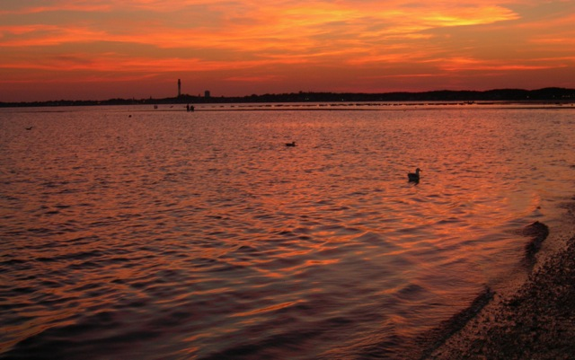 A perfect sunset looking west toward Provincetown, MA.