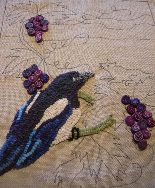 The beginning of The Fox and the Grapes. A magpie looks down on the fox.