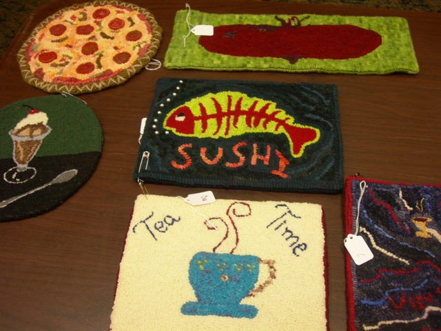 Here are a few of the food themed swap mats.  My pizza went home with someone and the Sushi mat came home with me.