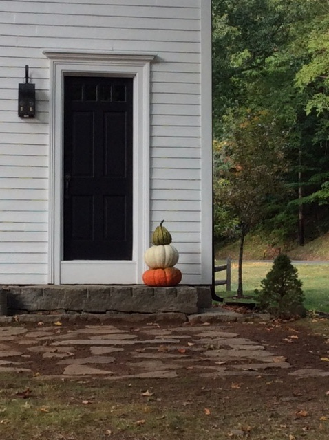 I'm not sure which I like better, the pumpkin stack or the white clapboard house.