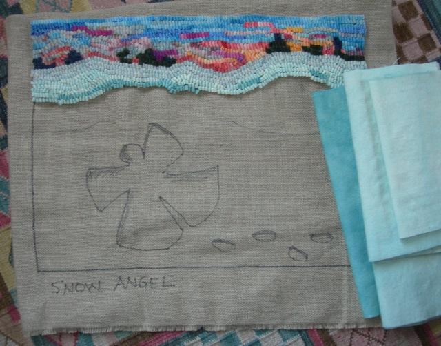 A sunset sky and snow wool for the Snow Angel mat.