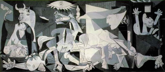 Guernica by Pablo Picasso 1937.  Black, gray, and white oil painting on canvas.