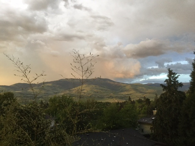 I never tire of looking at Grizzly Peak.  Here it is as a storm approaches. The sky had an eerie yellow cast to it.