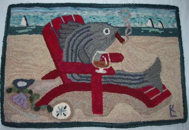 Smoked Bass, a whimsical rug I designed for my brother and sister-in-law.