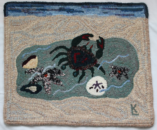 MJ's Tidal Pool, a rug hooked for a friend.