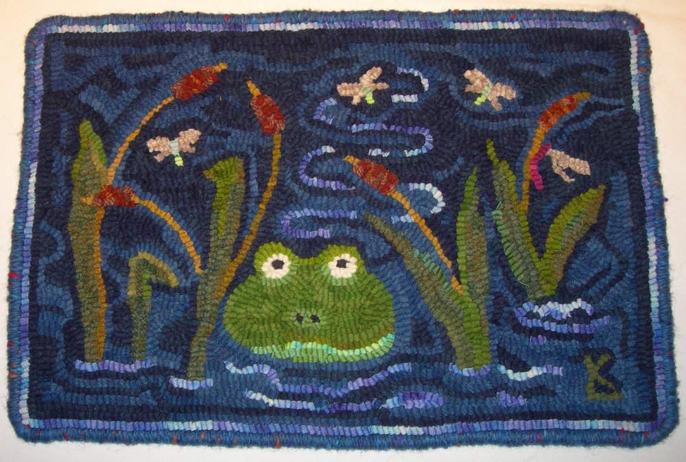 "Frogger - finished rug 15 1/2"" x 22 1/2"" -  price upon request"