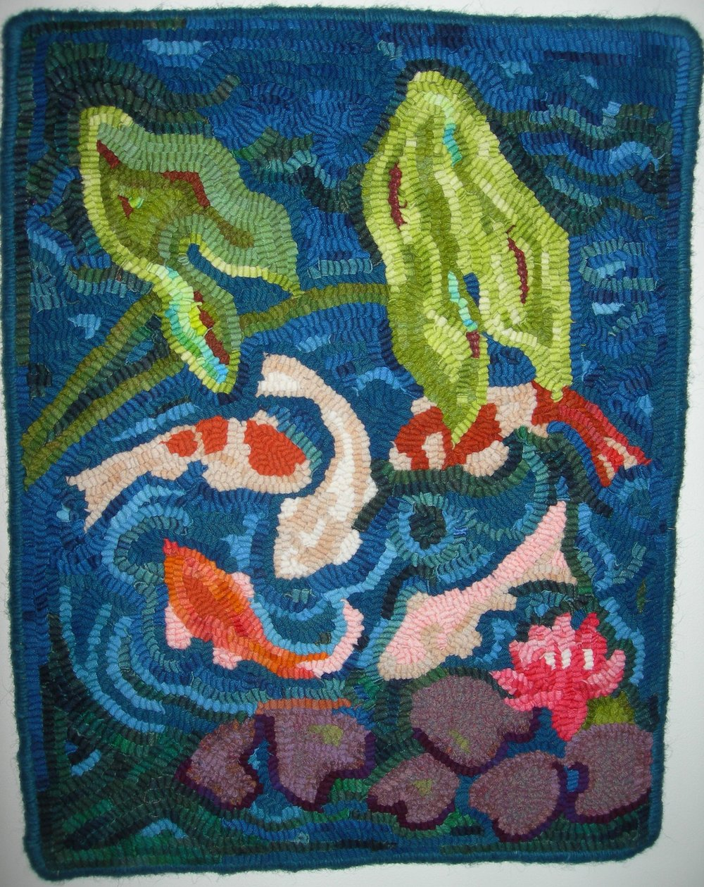 "Five Fish -  finished rug 18 1/2"" x 24""  - price upon request"
