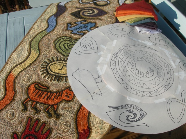 The new pattern for a round meditation mat is in the cut and paste phase,