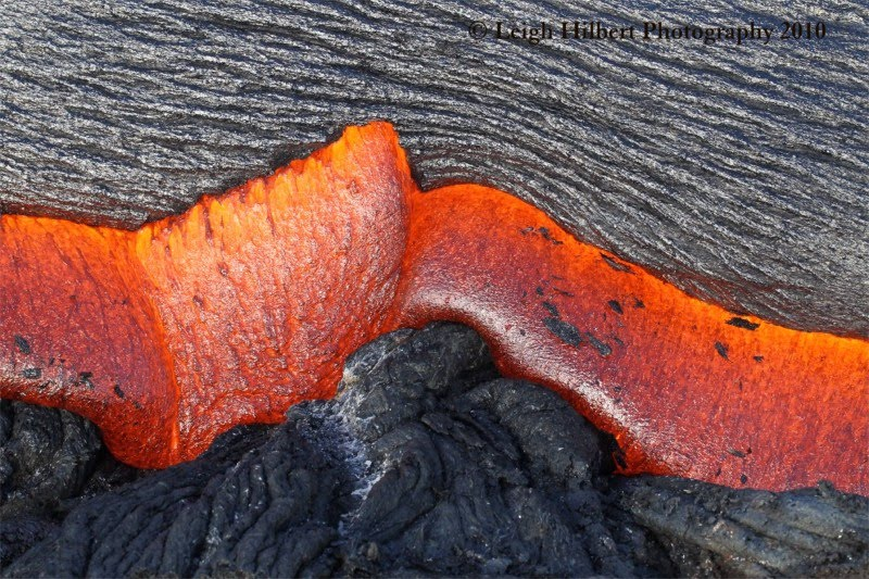 This photo of Hawaiian lava flow is my inspiration, used with permission from © Leigh Hilbert.