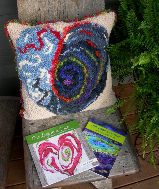My completed project made into a pillow and Meryl Cook's books as inspiration.