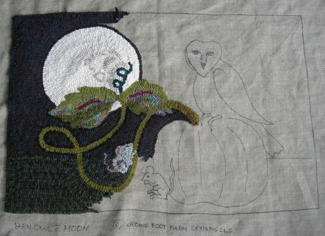 Barn Owl with Moon- take2 in progress.