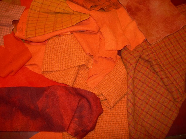 The orange wools used.