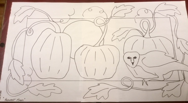 "My next pumpkin pattern, Harvest Moon, 22"" x 40"""