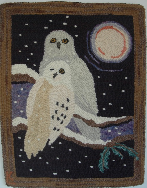 Not Quite White. This rug is featured in the new book, Rug Hooking Through the Year ©2018 Ampry Publishing LLC/Rug Hooking
