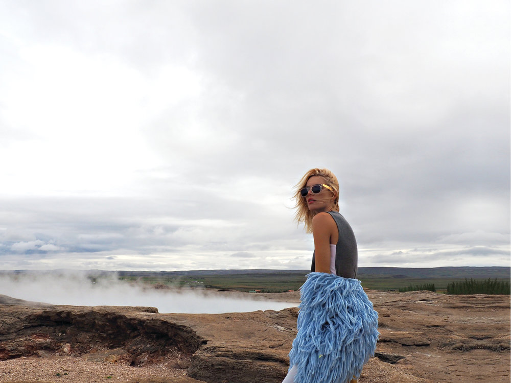 1PM  GEYSIR HOT SPRING  Chloe is wearing CICCIO FRANCIS CRYSTAL Sunglasses by RETROSUPERFUTURE, Sleeveless Top by Kit and Ace