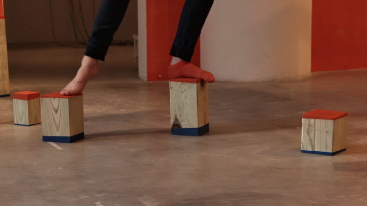 Installation for performance,  The Weight of My Right Leg , 2013
