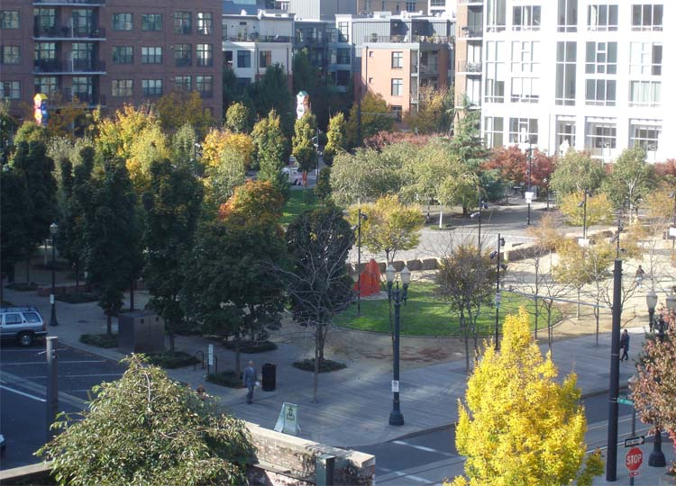 Looking into the Square from above. The boardwalk is in the foreground. Look for the row of stone blocks snaking through the middle of the park.  Image: Flickr User pondskipper via Wikimedia Commons.