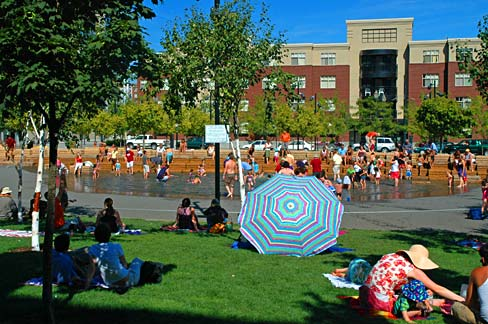Although we visited on a rather bleak day, lot's of people were still engaging with Jamison Square Fountain. This image gives a glimpse of what it's like on a summer's day - pandemonium! If you're in Portland in summertime, go check it out. Image: Gary Halvorson, Oregon State Archives.