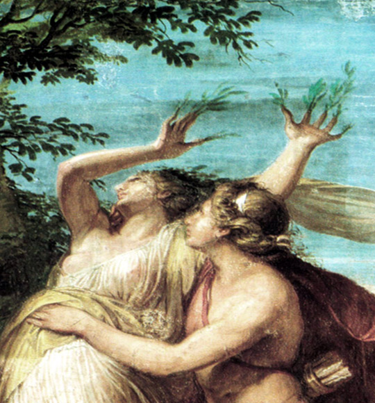 Detail from  Apollo and Daphne,  by Andrea Appiani circa 1795-1800, via Wikimedia Commons.