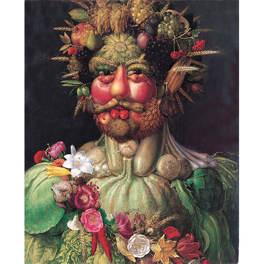Rudolf II as Vertumnus, Giuseppe Arcimboldo, c 1590, mechanical reproduction of 2D image via Wikimedia Commons.
