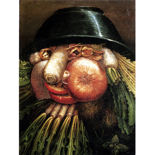 Portrait with Vegetables (The Greengrocer), Giuseppe Arcimboldo, mechanical reproduction of 2D image via Wikimedia Commons.