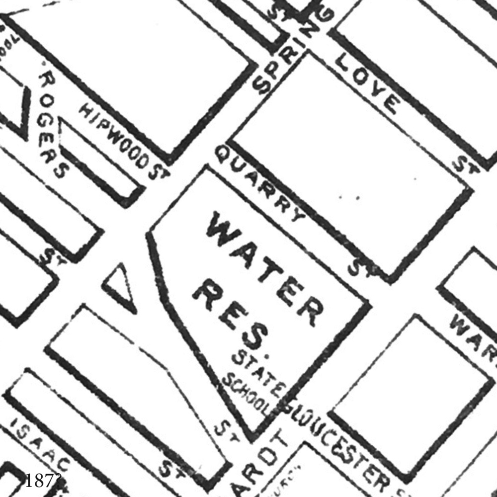 1870s The quarry site is blank, but the adjacent site is marked as a water reserve, with state school in the corner.