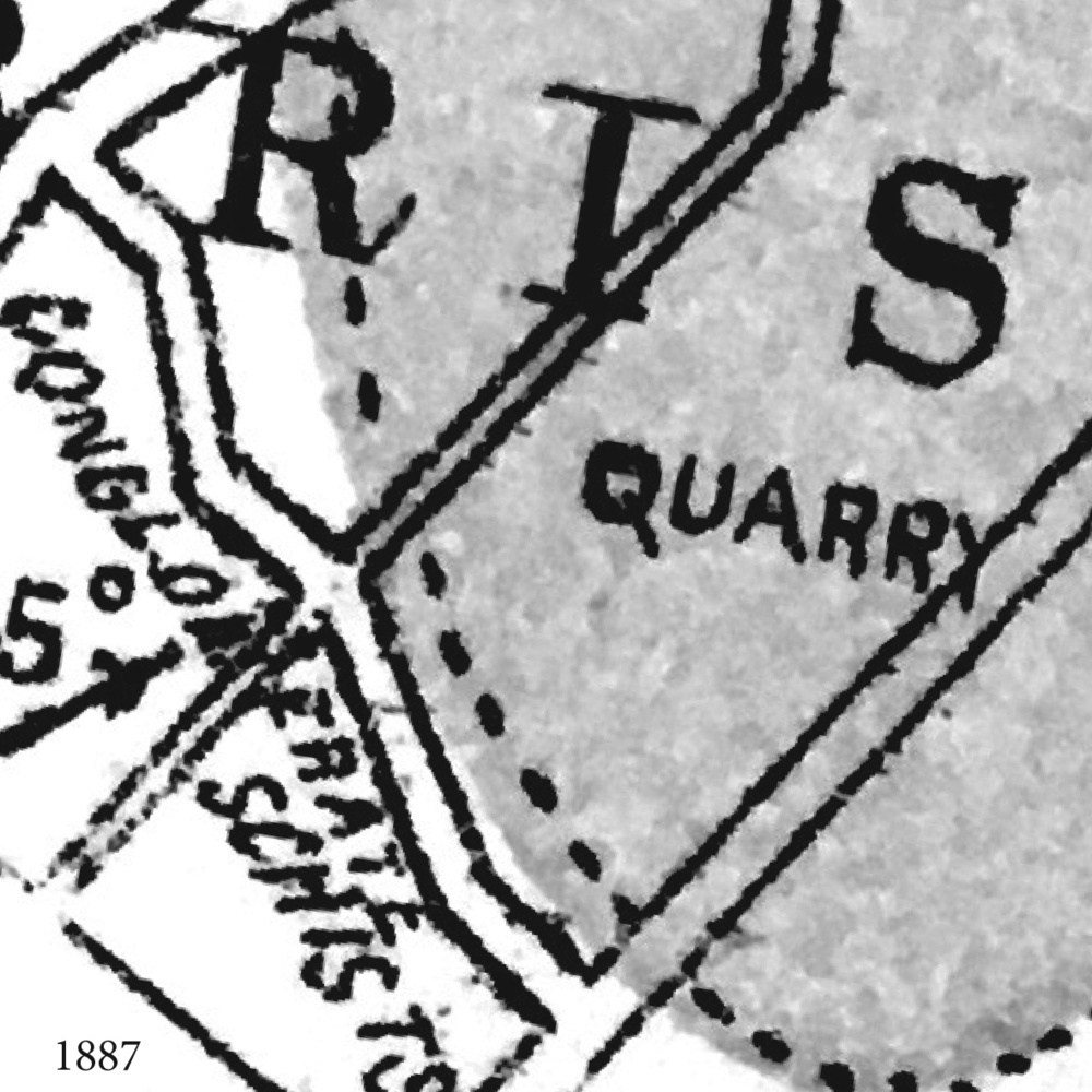 1887 A geological map of the city shows the quarry site, on the edge of the 'Ashy Sandstone' formation.