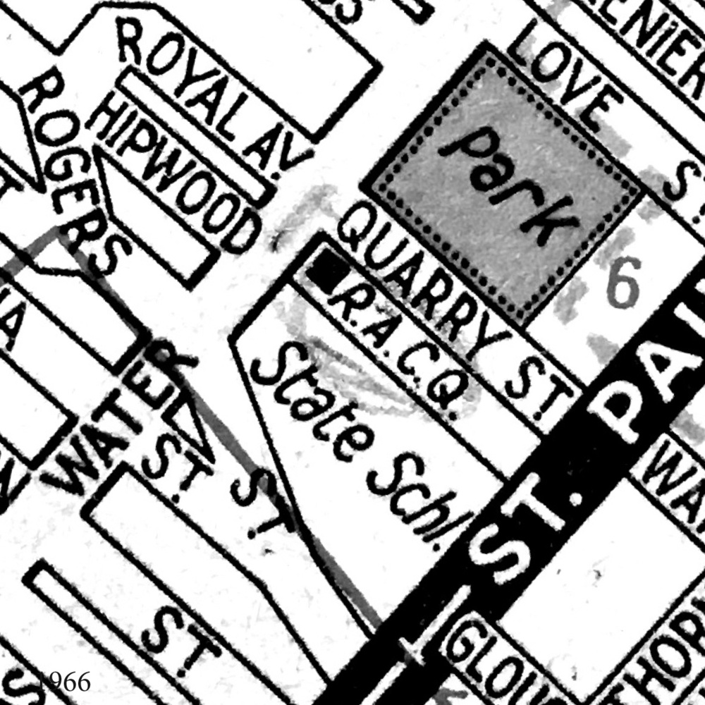 1966 In this street directory map the quarry site is shown as a park.