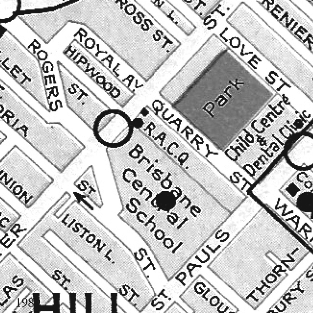 1989 This street directory shows the site as a park.