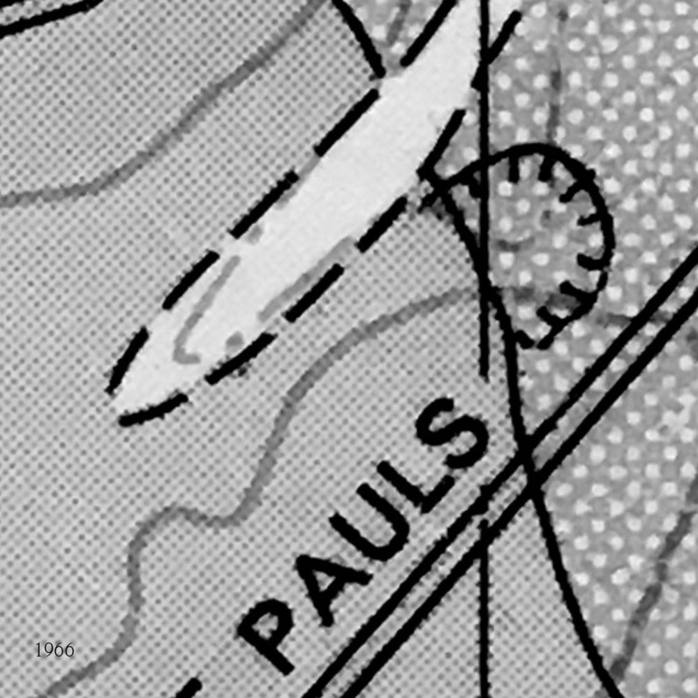 1966 This geological map, also from 1966, continues to show the quarry - it's the semicircular line over the dotted area.