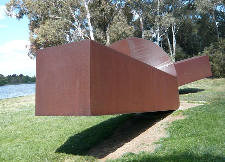 Virginia , Clement Meadmore. This is one of two very large scale sculptures located on open lawn running down to Lake Burley Griffin.