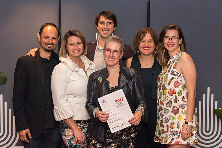 L-R: Alan Hoban (Bligh Tanner), Christina Gnezdiloff (Landscapology), Ben Walker (Ipswich City Council), Amalie Wright, Claudia Bergs (both Landscapology), Stephanie Brown (Bligh Tanner).  Image: ShadowLight Studio, courtesy AILA Queensland.