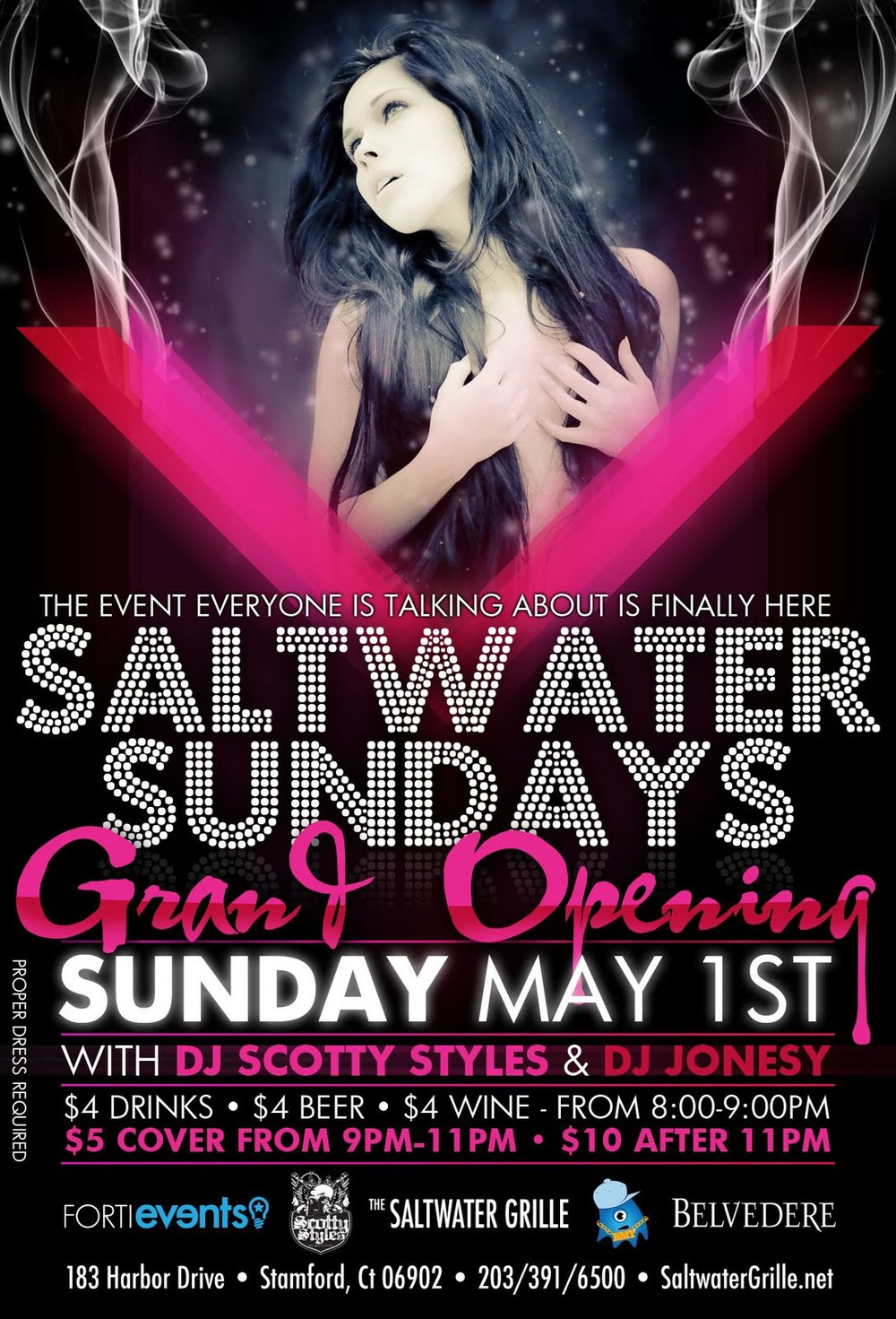 Sunday May 1st ill be rockin the Grand Opening of Saltwater Grille in Stamford, CT for the Summer. Summer is here kids!!! $5 cover 9pm-11pm, $10 cover AFTER 11pm. Big Shout to my bro   @DJSCOTTYSTYLES   ... follow him on twitter.