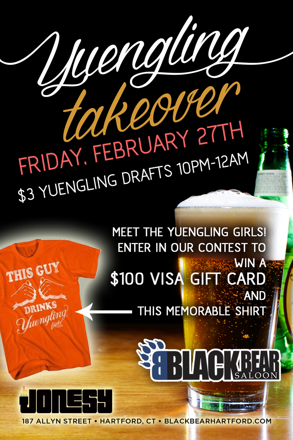 Friday, February 27th we bring the party to   Black Bear   for the YUENGLING TAKEOVER.  Music by yours truly starts at 9:30pm.  $3 Yuengling Drafts.   Meet the Yuengling Girls & Enter for a chance to win $100 Visa GIft Card + Yuengling T-Shirt!  Meet us there!