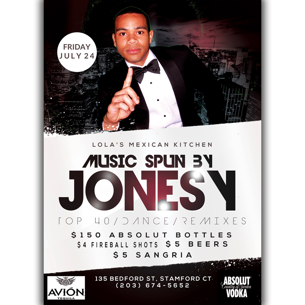 Friday, July 24 join us at Lola's Mexican Kitchen!  Music by JONESY begins at 10pm.  $150 Absolut Bottles, $4 Fireball Shots, $5 Beers, $5 Sangria + plenty more drinks specials.  See you there!