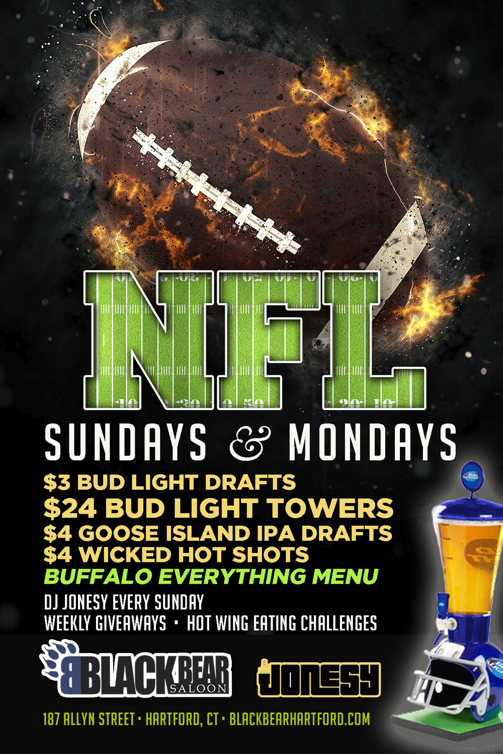 Each & every Sunday Join us at Black Bear Saloon, 1 pm, for NFL Sundays!  Music by yours truly during commercial breaks + tons of TVs!  Drink + Food Specials all day, meet me there!