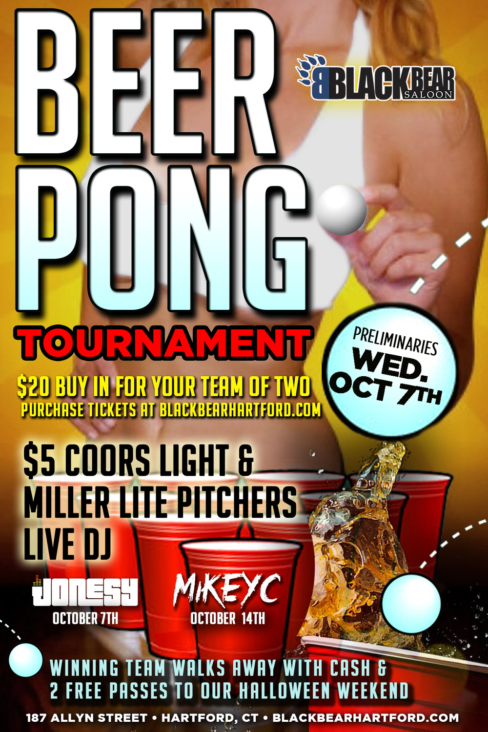 Wednesday, Oct. 7th join us at Black Bear Saloon for the Beer Pong Tournament + Music by yours truly.  Music starts at 9!  $5 Coors Light + Miller Lite Pitchers.