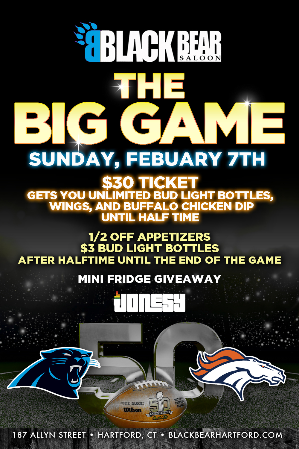 SUPER BOWL SUNDAY JOIN US AT BLACK BEAR IN DOWNTOWN HARTFORD FOR THE BEST PLACE IN CT TO WATCH TO BIG GAME.  TVS ALL OVER, PLENTY OF RAFFLES AND GIVEAWAYS, AND TONS OF FOOD & DRINK SPECIALS.  MUSIC BY YOURS TRULY DURING AND AFTER THE GAME.  MEET ME THERE! #SUPERBOWL50