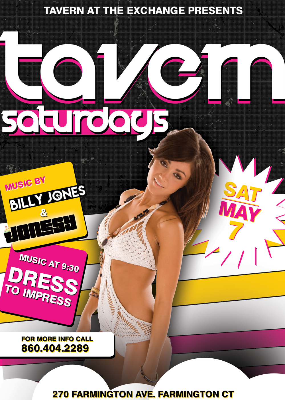 SATURDAY, MAY 7TH JOIN US AT TAVERN AT THE EXCHANGE IN FARMINGTON, CT FOR MUSIC BY BILLY JONES + YOURS TRULY ALL NIGHT LONG!  HOSTED BY ALBY & ERIC SAVAGE, ITS THE BIGGEST SATURDAY NIGHT PARTY IN THE WHOLE STATE OF CT!  DRESS TO IMPRESS & ARRIVE EARLY TO AVOID A LINE.  SEE YOU ALL THERE!