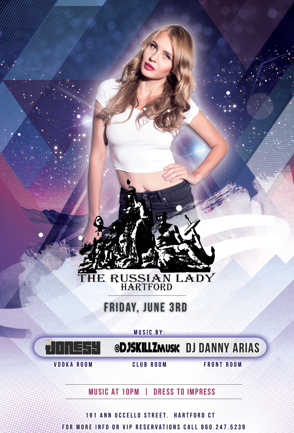 Friday, June 4th join us at The Russian Lady in Hartford, CT as I make my return to the Vodka Room.  Music by DJ Skillz, DJ Danny Arias + Myself starts at 10pm.  Be there early to avoid a line!