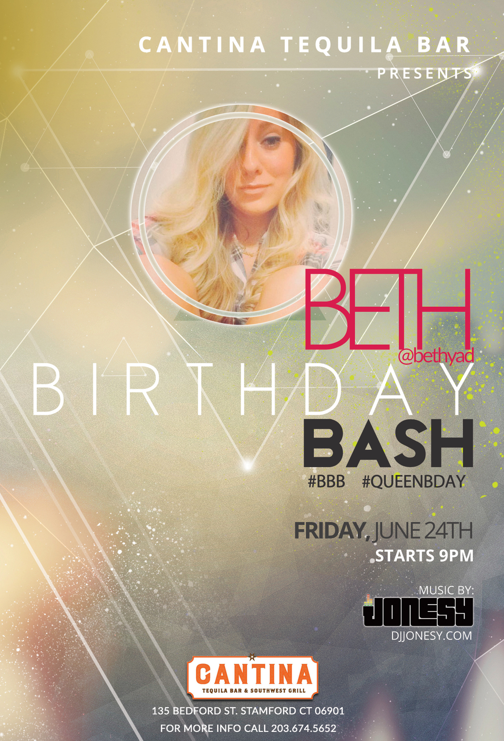 Come join us Friday, June 24th @ Cantina Tequila Bar & Southwest Grill as we celebrate my Girlfriend @bethyad on her BIRTHDAY!  Music starts at 9pm and goes all night long.  See everyone there!  #BBB #QUEENBDAY