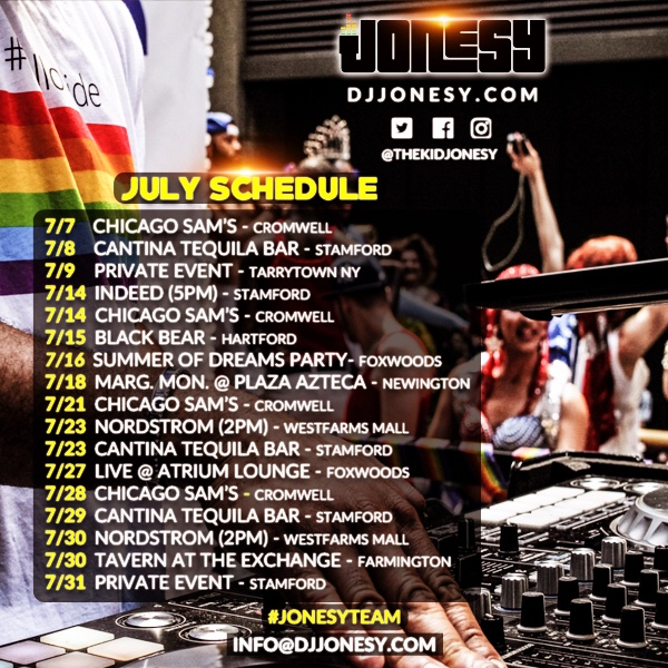 BE SURE TO CATCH JONESY AT A VENUE NEAR YOU THIS JULY!!