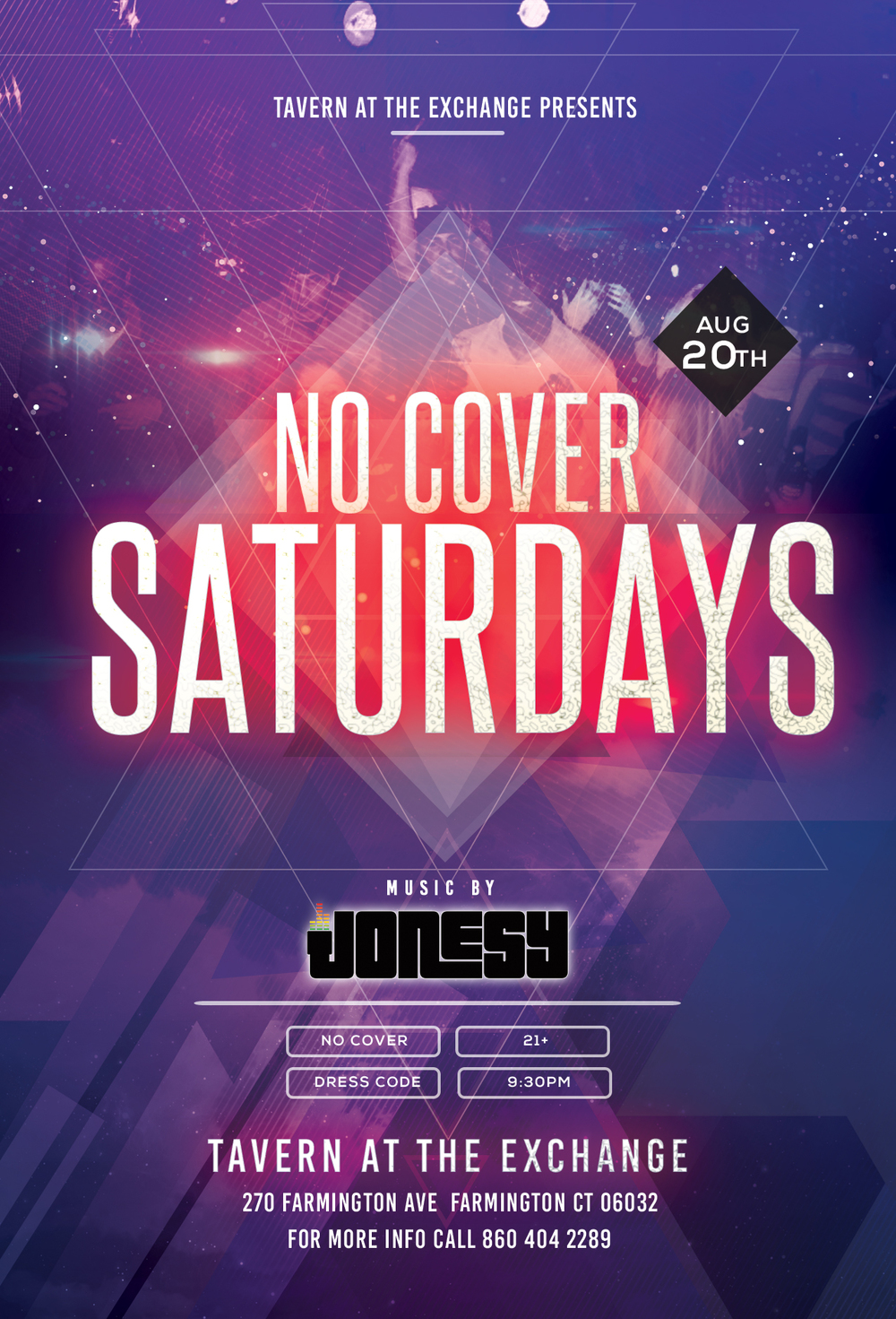SATURDAY, AUGUST 20TH JOIN US AT TAVERN AT THE EXCHANGE IN FARMINGTON, CT FOR 'NO COVER SATURDAYS' WITH MUSIC BY YOURS TRULY 9:30PM - CLOSE! DRESS TO IMPRESS. NO COVER. 21+. SEE YOU ALL THERE!
