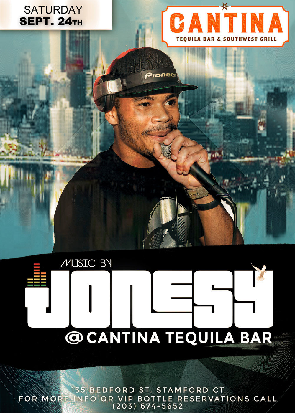 SATURDAY, SEPTEMBER 24TH JOIN ME AT CANTINA TEQUILA BAR & SOUTHWEST GRILL FOR MUSIC BY YOURS TRULY 10PM - CLOSE.  DELICIOUS FOOD & COCKTAILS + THE BEST MUSIC IN THE STAMFORD.  HOPE TO SEE EVERYONE THERE!