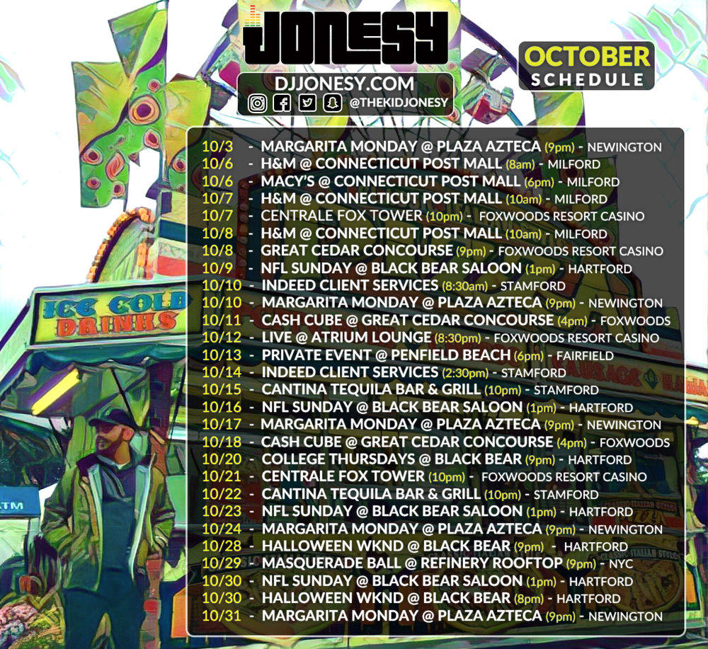 The much anticipated October 2016 Calendar has arrived!  Be sure to catch Jonesy spinning this month at a venue near you!!