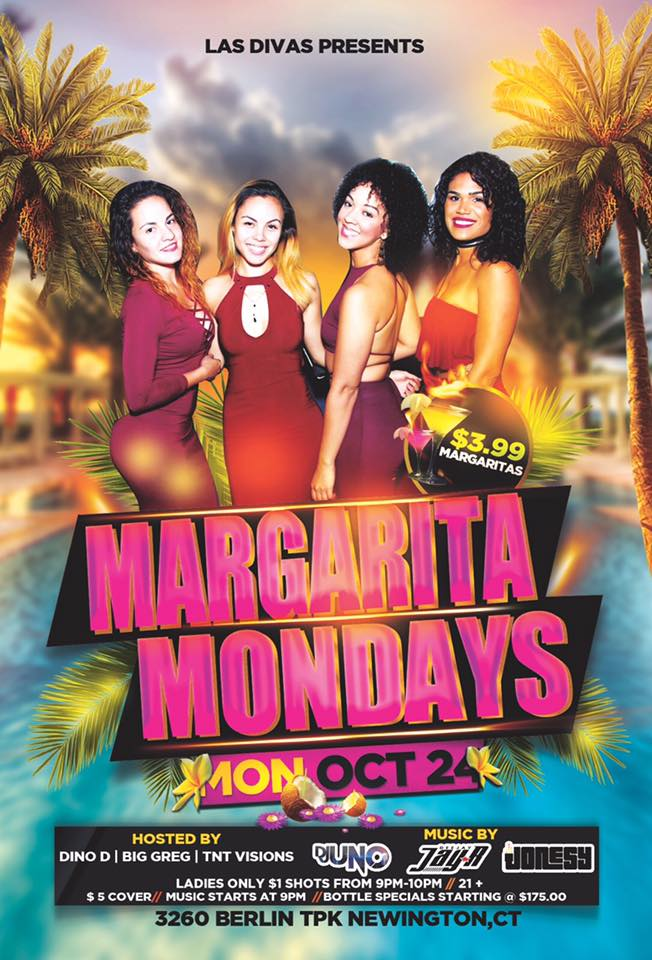 Monday, October 24th   join me at Plaza Azteca in Newington, CT for Margarita Monday with music by DJ Uno, DJ Jay R & yours truly 9pm-close.  $3.99 Margaritas all night long!  Meet me there! $5 Cover.