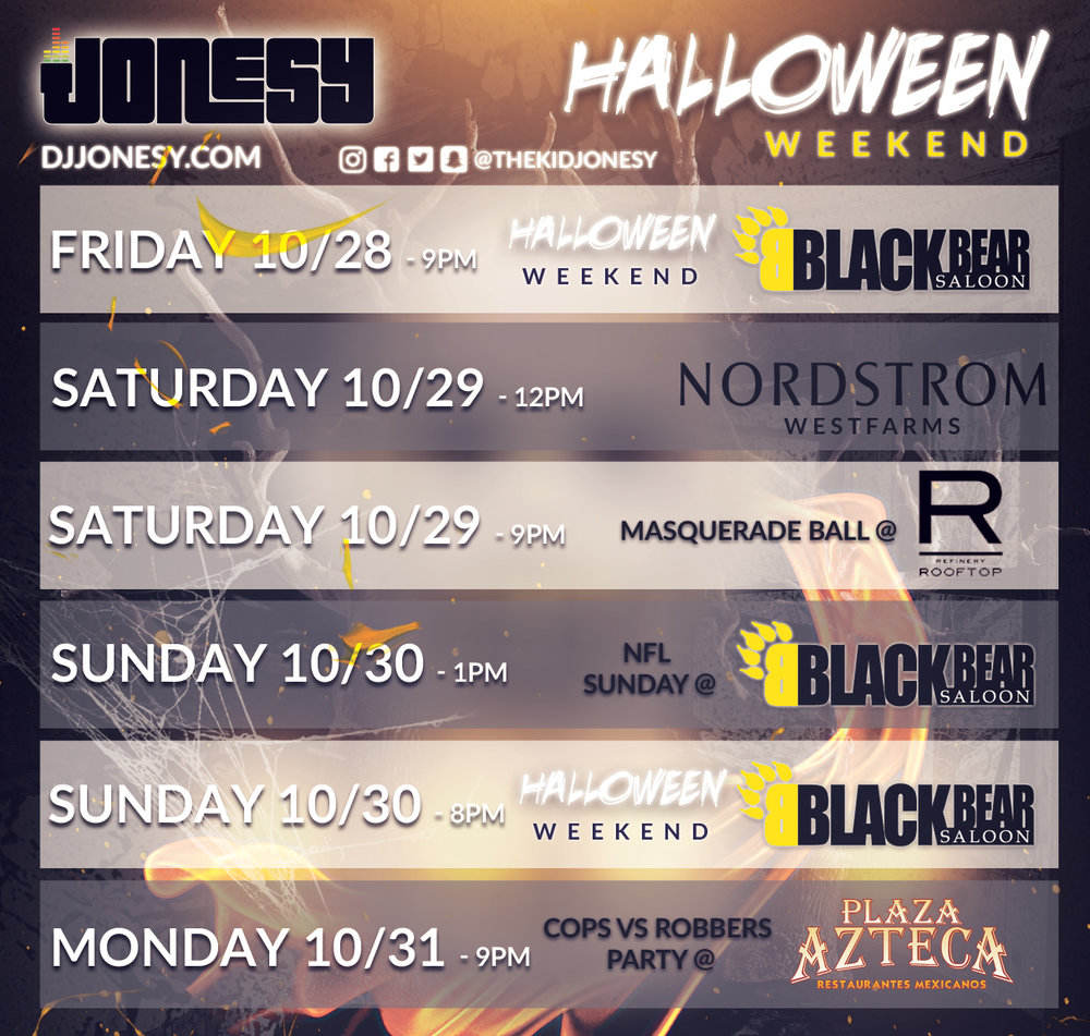 👻 Halloween weekend is here ‼️ Be sure to catch DJ Jonesy & Co. at the events shown above. ⬆️⬆️⬆️ All weekend, there will be costume contests w/ ca$h prizes 💸 and drinks specials‼️Definitely check out Jonesy's special guest set at @nordstromwestfarms  brought to u by @scratchevents .  #DJjonesy   #JonesyTeam  @blackbearhartford   @refineryrooftop  #PlazaAzteca   @thekidjonesy