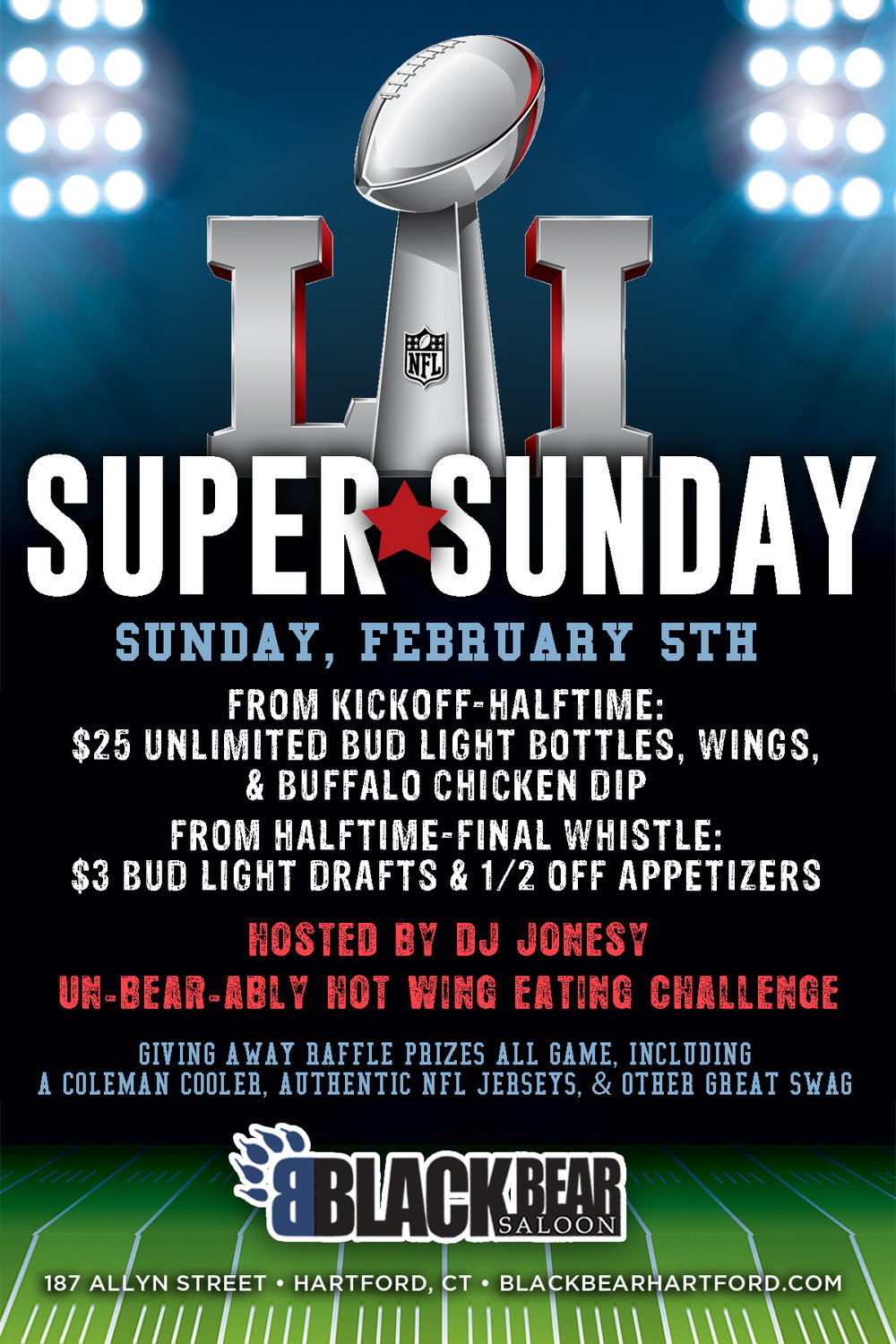 JOIN US AT BLACK BEAR SALOON FOR THE BIG GAME!  FOOD & DRINKS SPECIALS ALL GAME.  PROP BETS, GIVEAWAYS, HOT WING CHALLENGE, YOU NAME IT!  BE SURE TO WATCH THE GAME WITH US, ALL HOSTED BY YOURS TRULY